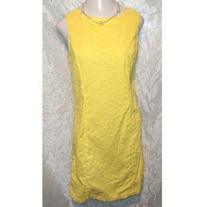 ➕ PLUS 16 TALBOT Yellow Eyelet Spring Sheath Dress